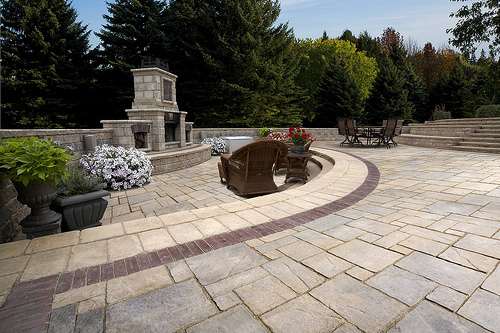 Unilock's Avante Ashlar and Copthorne Banding with Tuscany Fireplace - Landscape Supply Pittsburgh Directions Park West Supply
